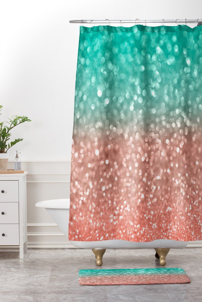 Coral Meets Sea Shower Curtain And Mat Lisa Argyropoulos
