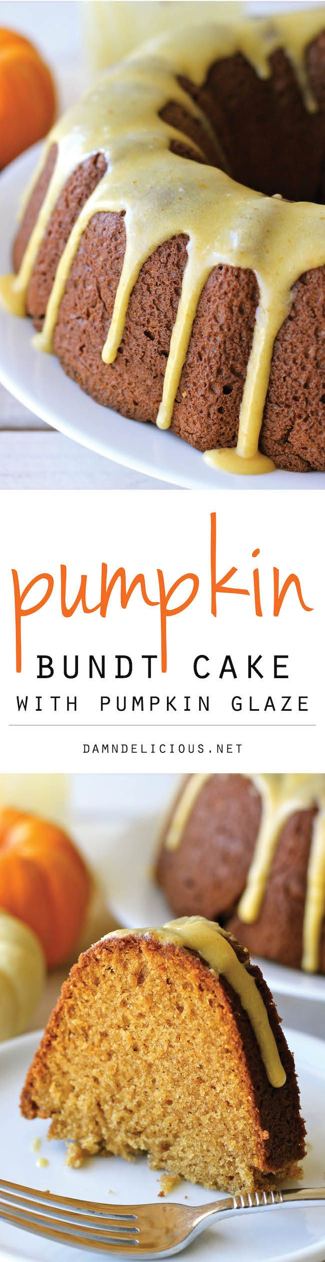 Pumpkin Bundt Cake with Pumpkin Glaze - A perfect fall cake that is sure to be a crowd pleaser! It's so good, you'll want to make it all year long!
