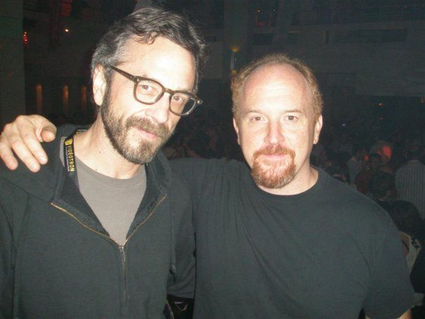 Louis CK and Marc Maron hug it out in after episode of Louie tv show