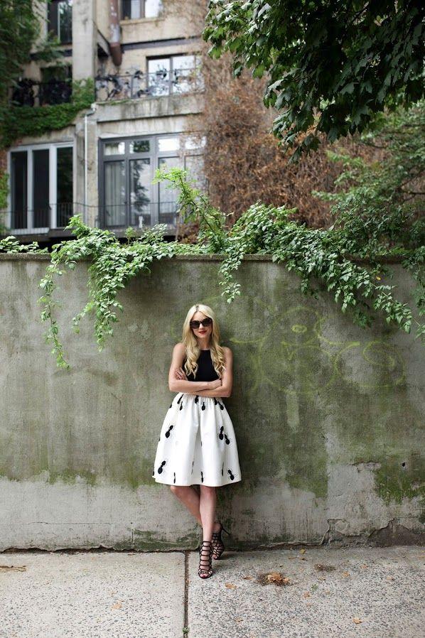 Skirt: PartySkirts. Dress worn as top: Tibi. Shoes: Schutz Juliana Caged Sandals. Sunglasses: Karen Walker. Lips: Stila 'Beso'.