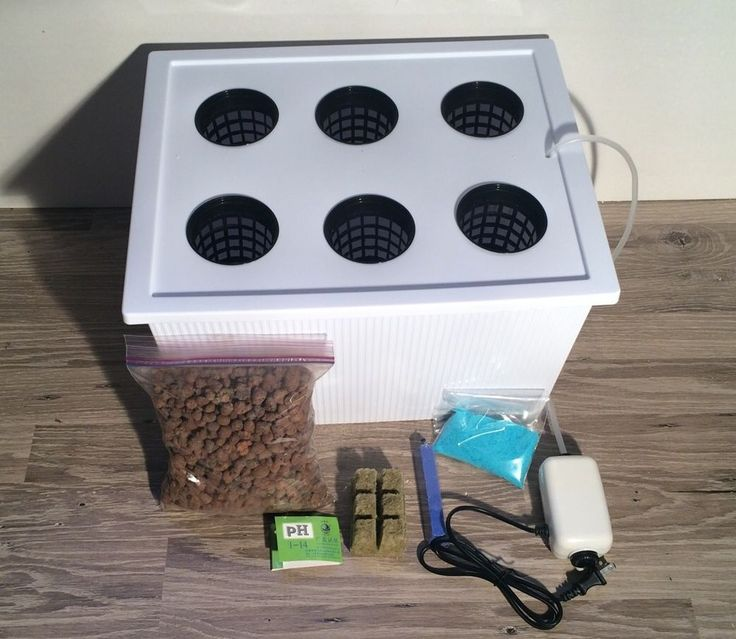 Complete 6 Gallon (6) Site Hydroponic Grow Box System Kit w/ Nutrients & pH Test