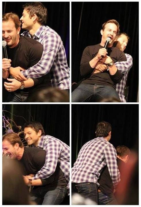 Misha's hugging (manhandling?) Richard
