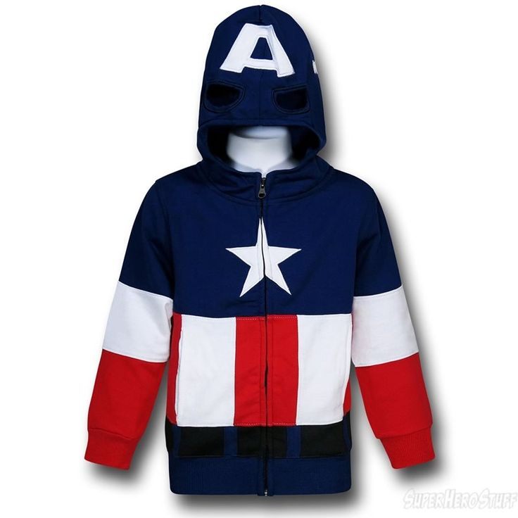 Images of Captain America Kids Masked Costume Hoodie