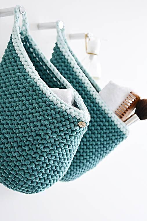 Pletený košík s uškom - farby oceánu 8e8ef183b9
