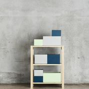 Lundia System boxes in a Lundia Classic small shelf. www.lundia.fi