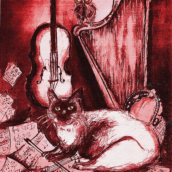 MUSICAL CAT AND OWL  Red White Collection by Bulgan Lumini (c) #music #harp #funnycats #funny #birds #owls #fineart #animals #instruments