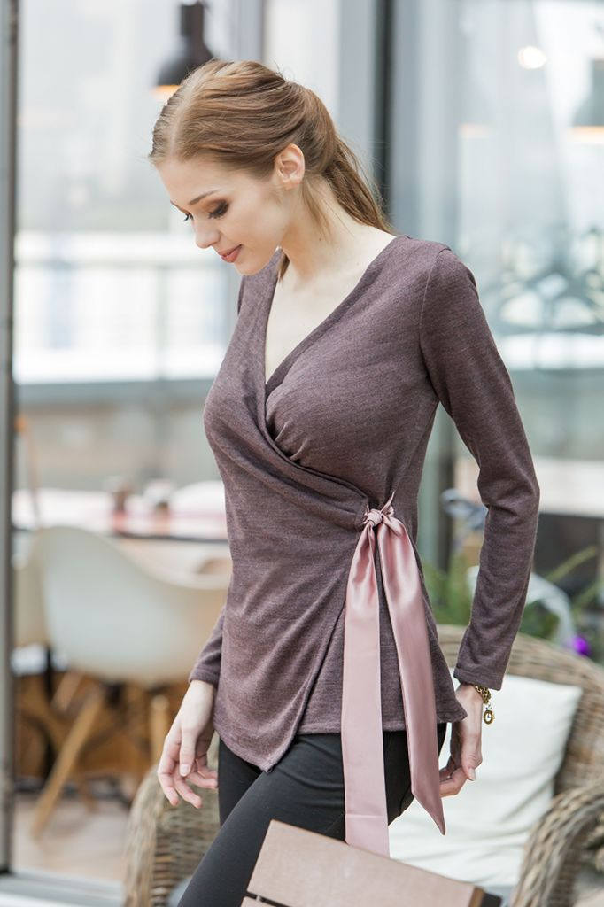 A smart knit wrap sweater,  you can wear it on any other occasion. The…