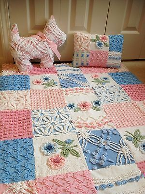 """Cabin Craft Pink Blue Baby Blanket & Pillow Chenille Bedspread 32""""X38"""" Free Dog!"""