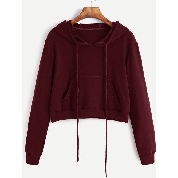 Burgundy Drawstring Hooded Crop Sweatshirt With Pocket (£13) ❤ liked on Polyvore featuring tops, hoodies, sweatshirts, burgundy, red pullover hoodie, cropped pullover hoodie, red sweatshirt, red hooded sweatshirt and pullover hoodie