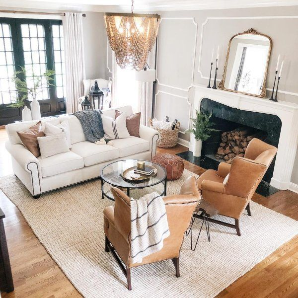 The Tan Leather Is A Nice Accent With The Light Neutrals In 2020 Farm House Living Room Big Living Rooms Livingroom Layout #nice #chairs #for #living #room