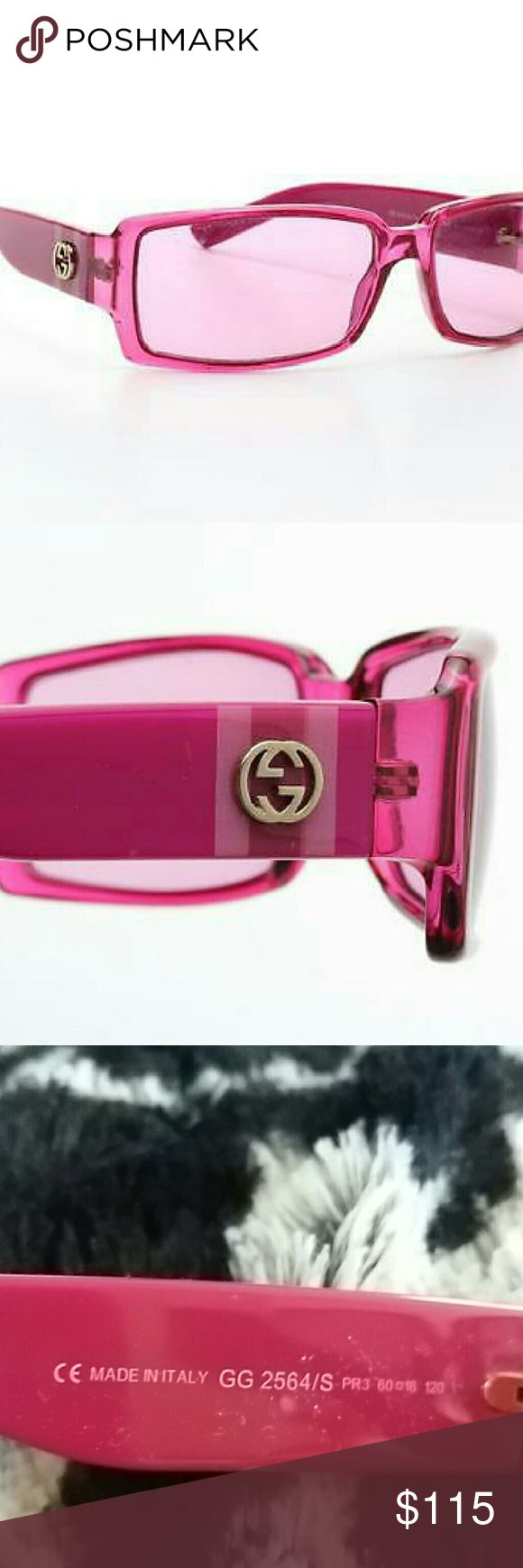 Pink Gucci Sunglasses  Perfect Condition When you dream of a world of Pink these Gucci sunglasses are a must! Gucci Accessories Sunglasses