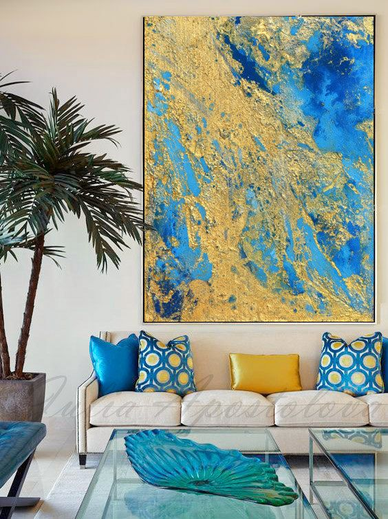 Abstract Art Blue and Gold Wall Art Coastal Landscape Giclee