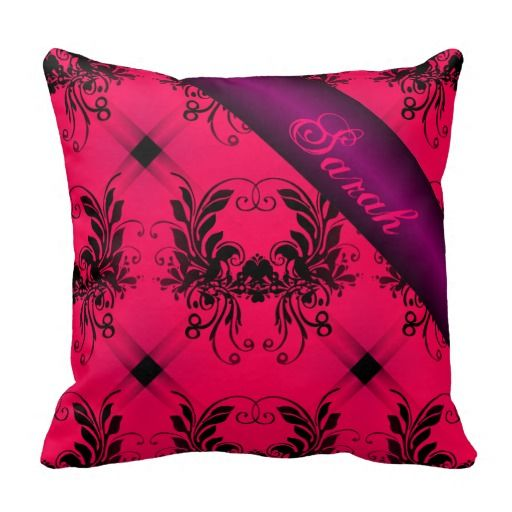 Personalize Pink Purple Damask Baby Blanket - This design has black damask with pink and purple blends of colour all over, it is a very luxurious looking blanket which will be treasured by anyone who receives it. Add your own name to this pillow to give it that personal touch.
