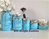 Ensemble de salle de bains Mason jar, peint des bocaux mason bleu, accessoires salle de bain, décoration de salle de bains, organisateur de salle de bains, décoration rustique, Articles ménagers