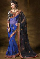 Shot Tone Black and Blue Net Saree with Blouse