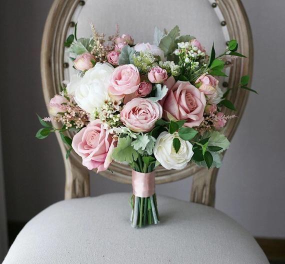 Mauve Wedding Bouquet, Bridal Bouquet, White, Pink, Dusty Rose Wedding Bouquet, Bridal Bouquet, Peon