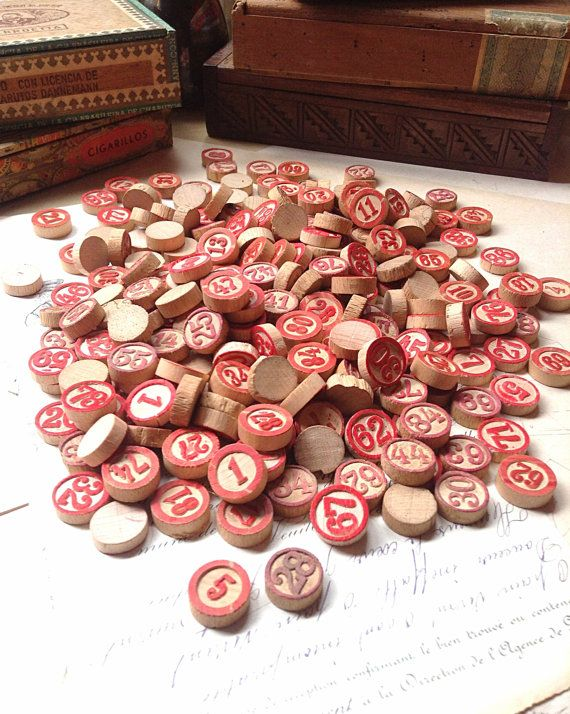 Vintage Wooden Bingo Tokens (4) - Red & White Old Bingo Number Toy tokens - Collectible Steam Punk Assemblage Art Supplies