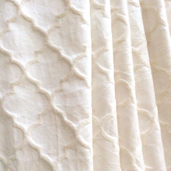 Natural White Moroccan Quatrefoil Fabric for by TheBonBonShoppe