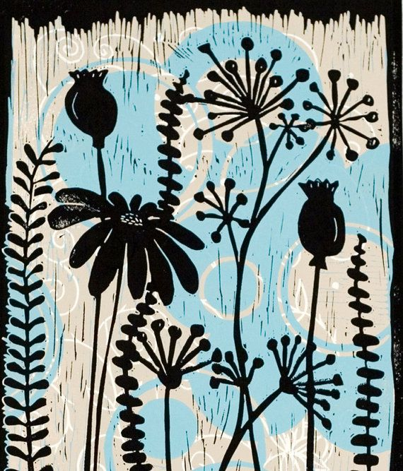 Items similar to Tree Bones 4 is a traditional lino print ...