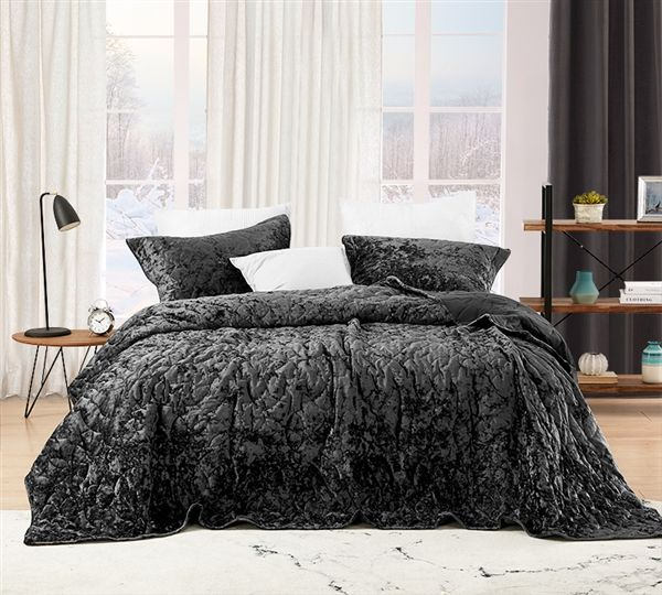 Bare Bottom Velvet Crush King Quilt Pewter Bed Styling Single Quilt Queen Size Comforter Sets