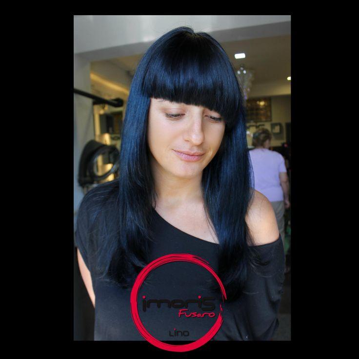 """GeometrY of Deep NighT""- #Frangia Assimetrica su un Nero/Blu Scopri il tuo stile da Imoris Fusaro!  #love #cool #fashion #night #blu #notte #fringe #frangetta #taglio #cut #geometry #hair #hairstyle #hairstyling #hairstudios #hairdresser #style #deep #parrucchiere #parrucchieri"