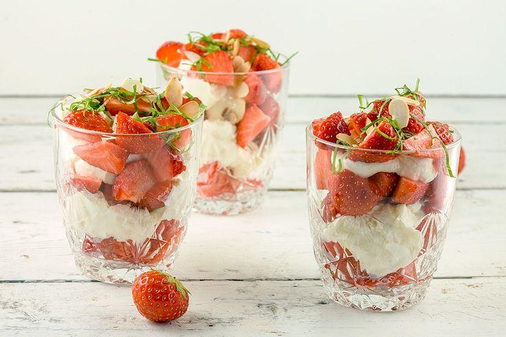 Aardbeien-mascarpone toetje