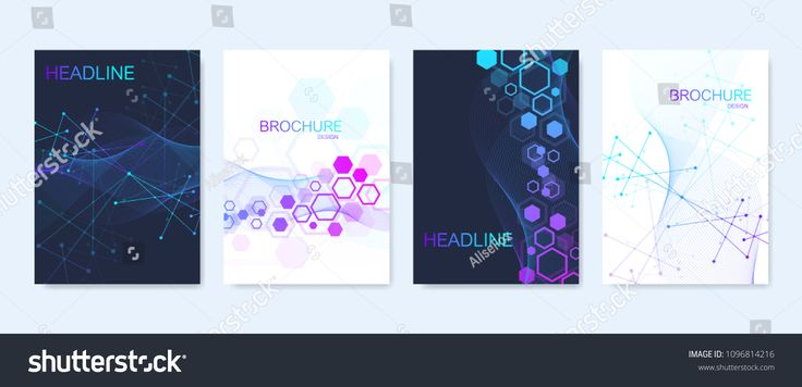 Business vector templates for brochure, cover, flyer, annual report, leaflet. Abstract composition with molecule structure, dots, lines. Wave flow. Sc…