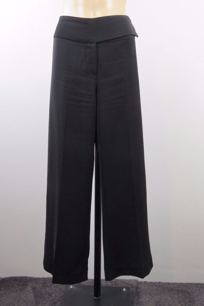 Size M 12Jacqui E Ladies Black Dress Pants Trousers Business Cocktail Chic Style #JacquiE #DressPants