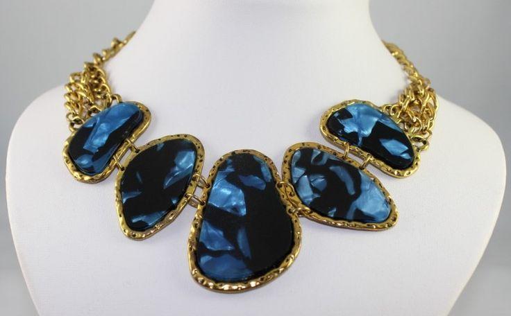 Multi Cloloured Stone & Chain Necklace (Blue)