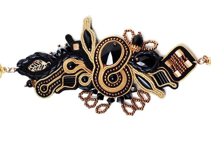 beaded bracelet women black and gold soutache jewelry boho chic rocker chic statement jewelry handmade black onyx by SixVintageChicks on Etsy