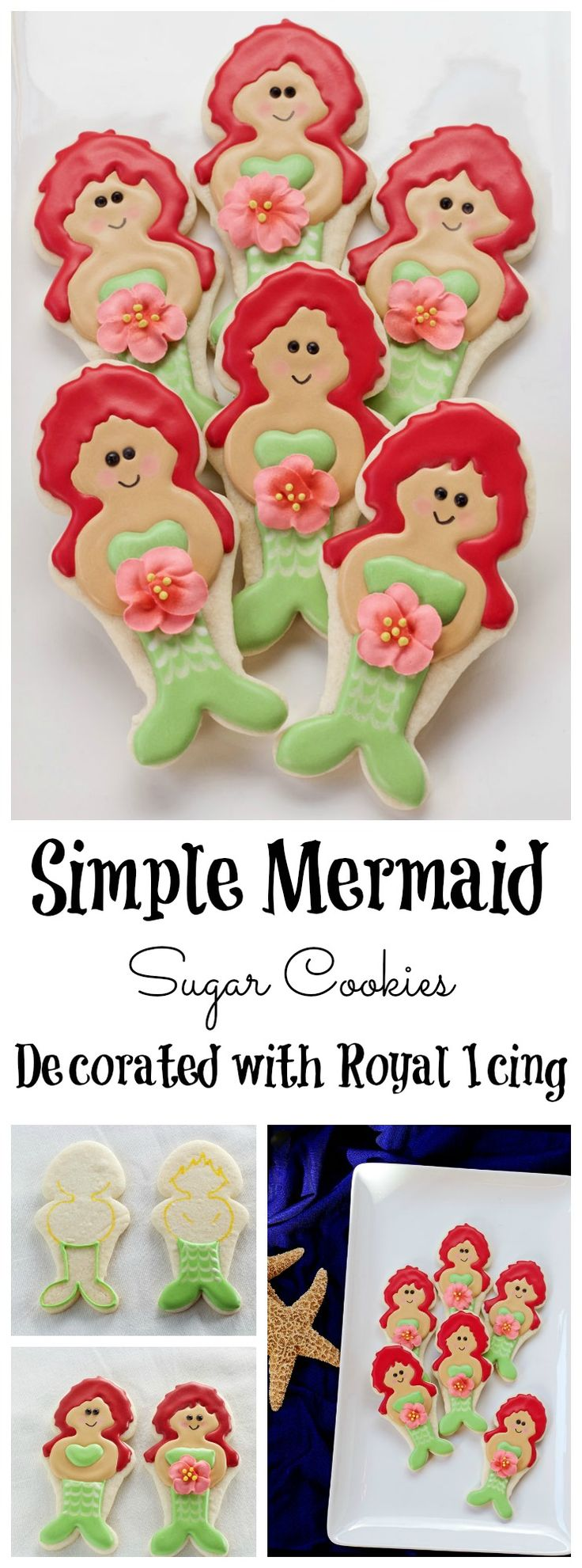 How to Make these Happy Little Mermaid Cookies - Sugar Cookies Decorated with Royal Icing via www.thebearfootbaker.com