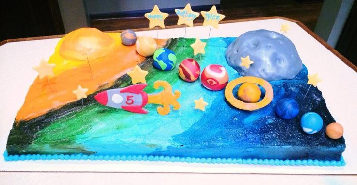 17 best images about kids cakes on pinterest thomas the for Cake decorations outer space