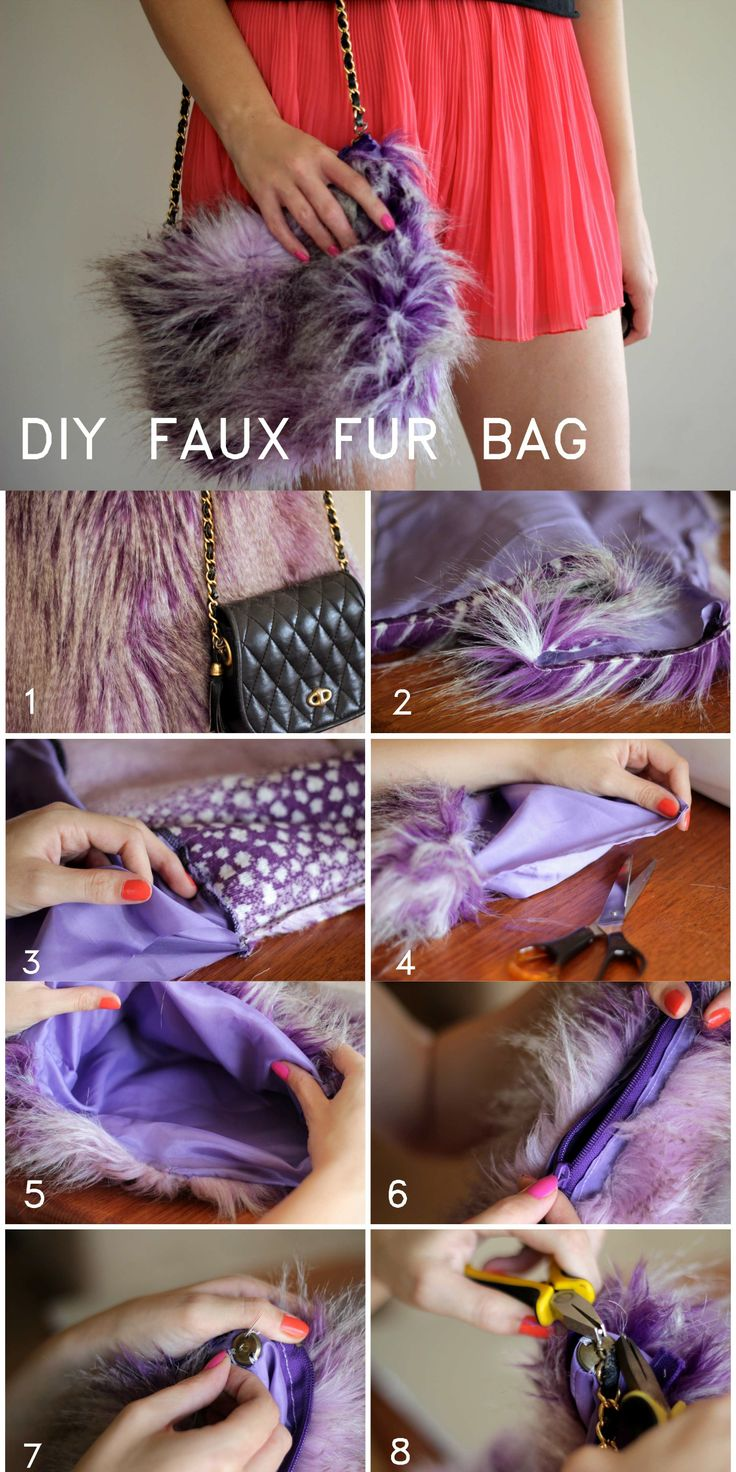 DIY Faux fur bag all from 2 thrifted items! ....on PIXIEandPIXIER.com