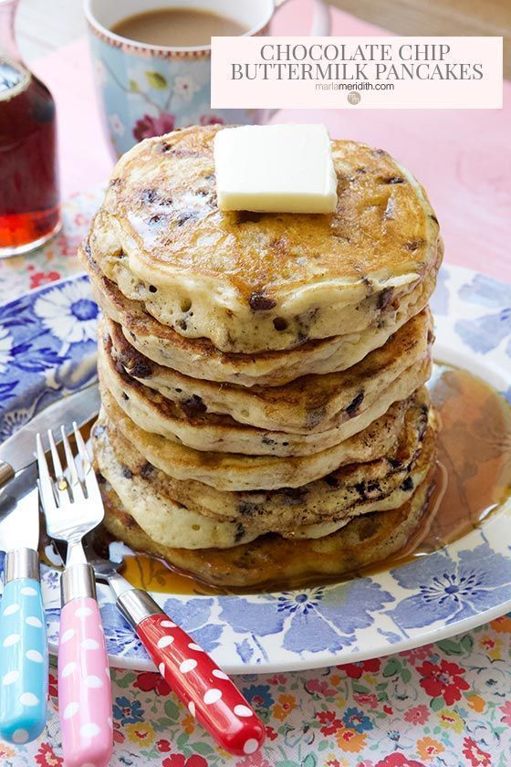 Chocolate Chip Buttermilk Pancakes recipe, easy and delicious!