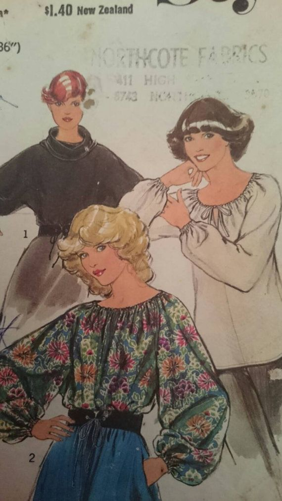 Seventies Ladies Peasant Style Top Pattern. To fit 36 inch bust
