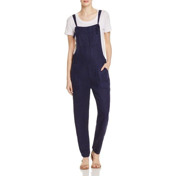 Soft Joie Hutton Chambray Overalls (730 BRL) ❤ liked on Polyvore featuring jumpsuits, dark navy, playsuit romper, overalls jumpsuit, bib overalls, blue jump suit and chambray romper