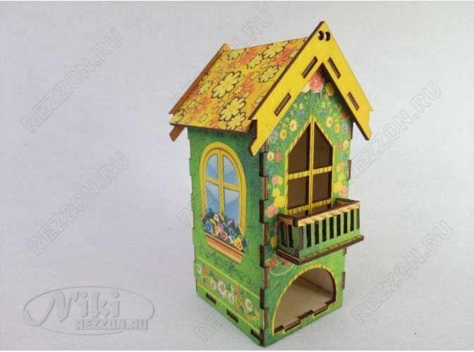 """Чайный домик """"Цветочный домик с балконом""""/подарочный/печать (1шт)"""