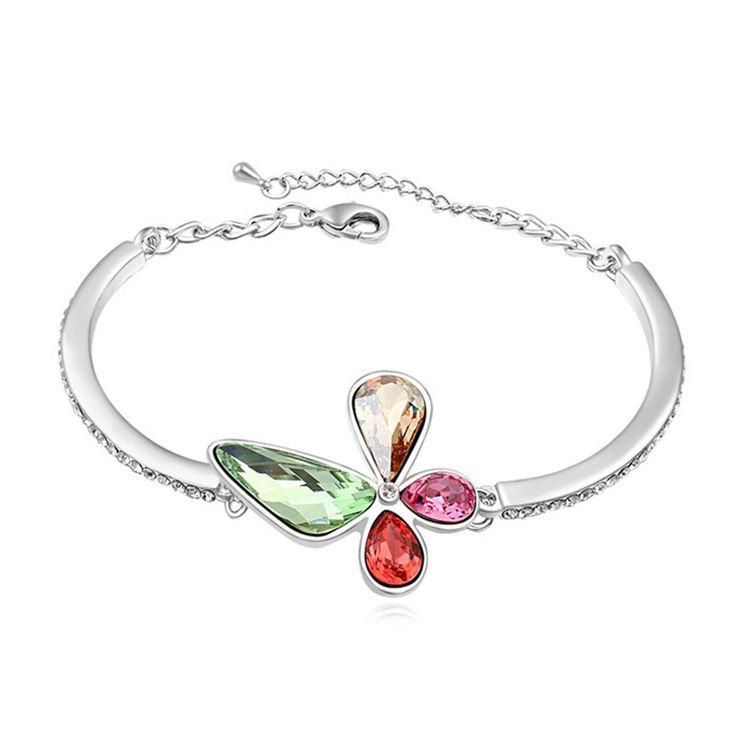Elegant Elements Butterfly Bracelets Crystal from Swarovski Fashion Rhinestone Bracelet for Woman Party Casual Jewelry Joyas