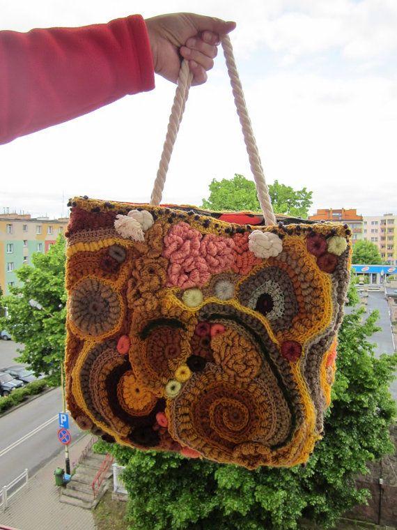 Desert roses sahara  freeform crochet big bag by handmadestreet101