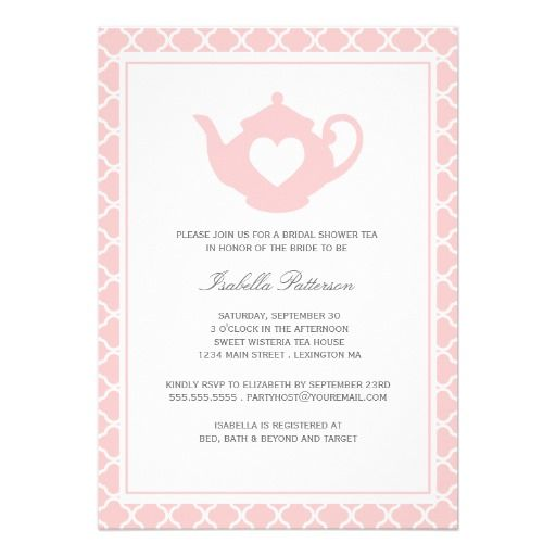 22 best tea party bridal shower invitations images on pinterest sweet pink teapot bridal shower tea party card filmwisefo Gallery