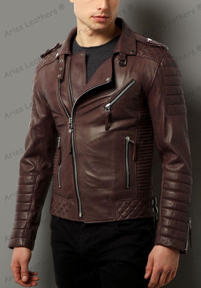 Men Genuine Lambskin Leather Tan Brown Motorcycle Jacket Slim fit Biker Jacket