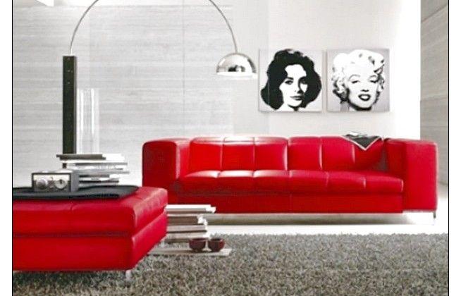 Wonderful Modern Classic Leather Red Sofa Design