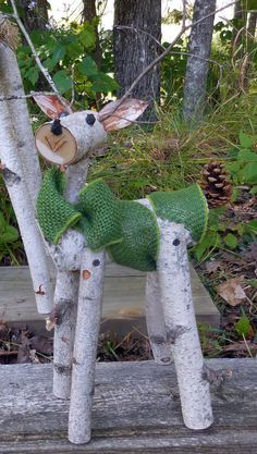 reindeer birch log deer Garden holiday decor by HeavenlyHolidays