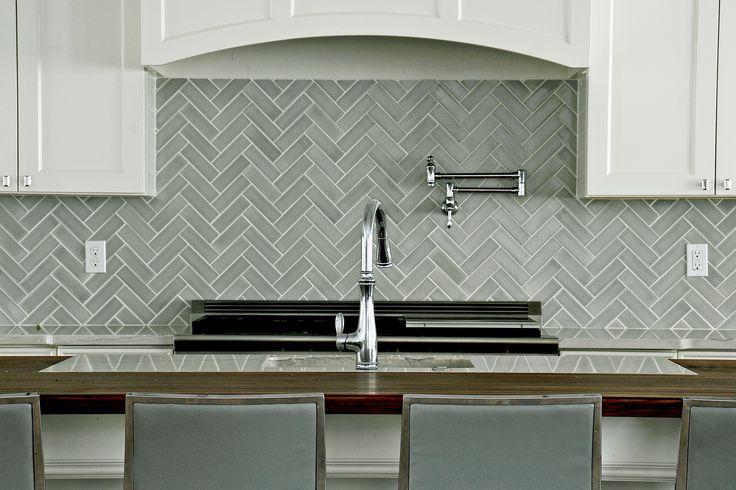 Best Fireclay Tile Foggy Morning Backsplash In Herringbone 400 x 300