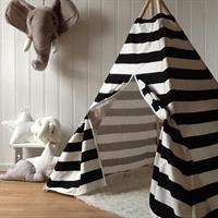 Teepee Tent Black/white stripes.