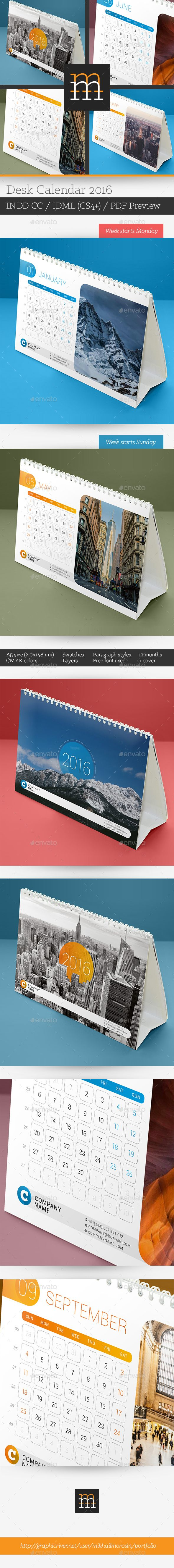 Desk Calendar 2016 Template InDesign INDD #design Download…