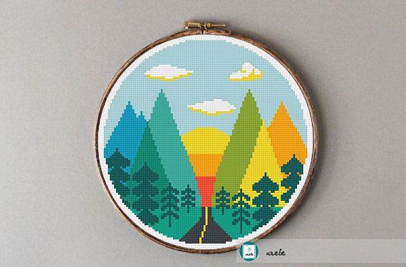 Road to mountains cross stitch pattern modern cross stitch