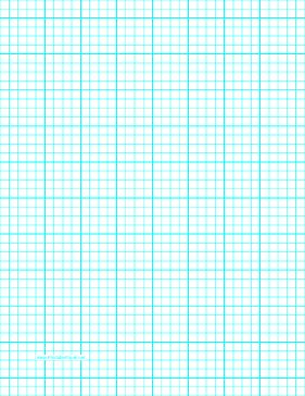 This letter-sized graph paper has four aqua blue lines every inch plus heavy index lines every inch. Free to download and print