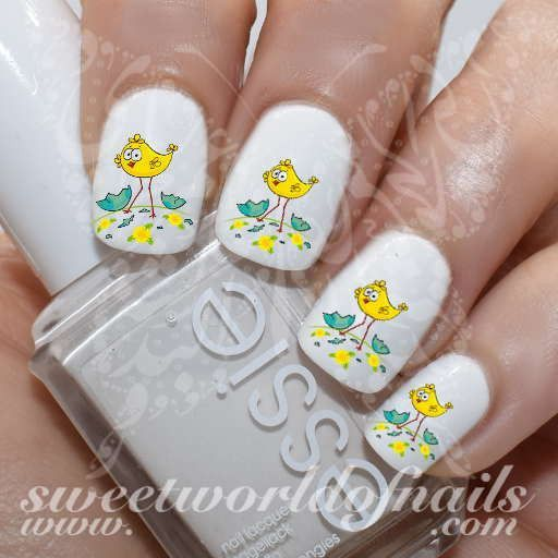 Easter Nail Art Cute little chicken on the meadow Nail Water Decals