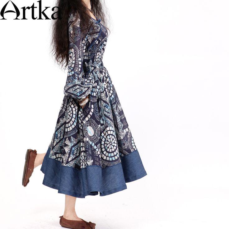 #Swanmarks Artka Blue Series Vintage Style Big Bottom Dress